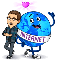 Matt BitEmoji Standing next to a globe with a sash saying 'Internet, why blogging is important, business blog, copywriter