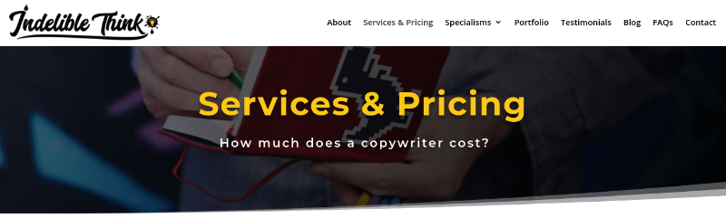 copywriting services and pricing page, website relaunch, relaunched website