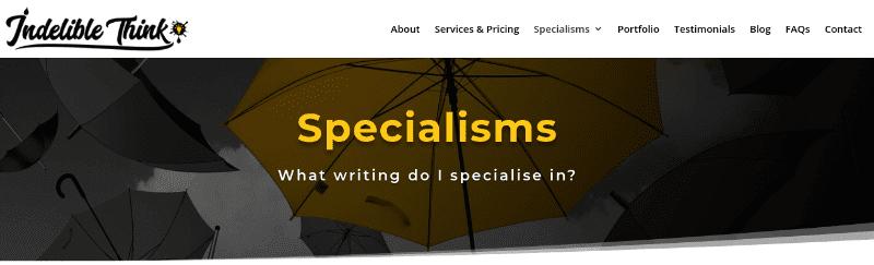 copywriting specialisms, copywriter near me